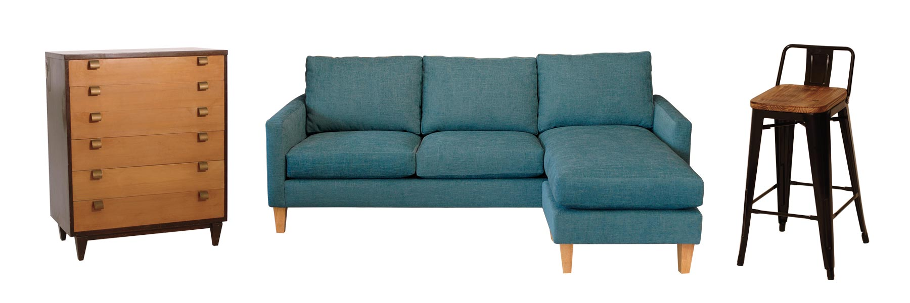 teal sofa with a chaise