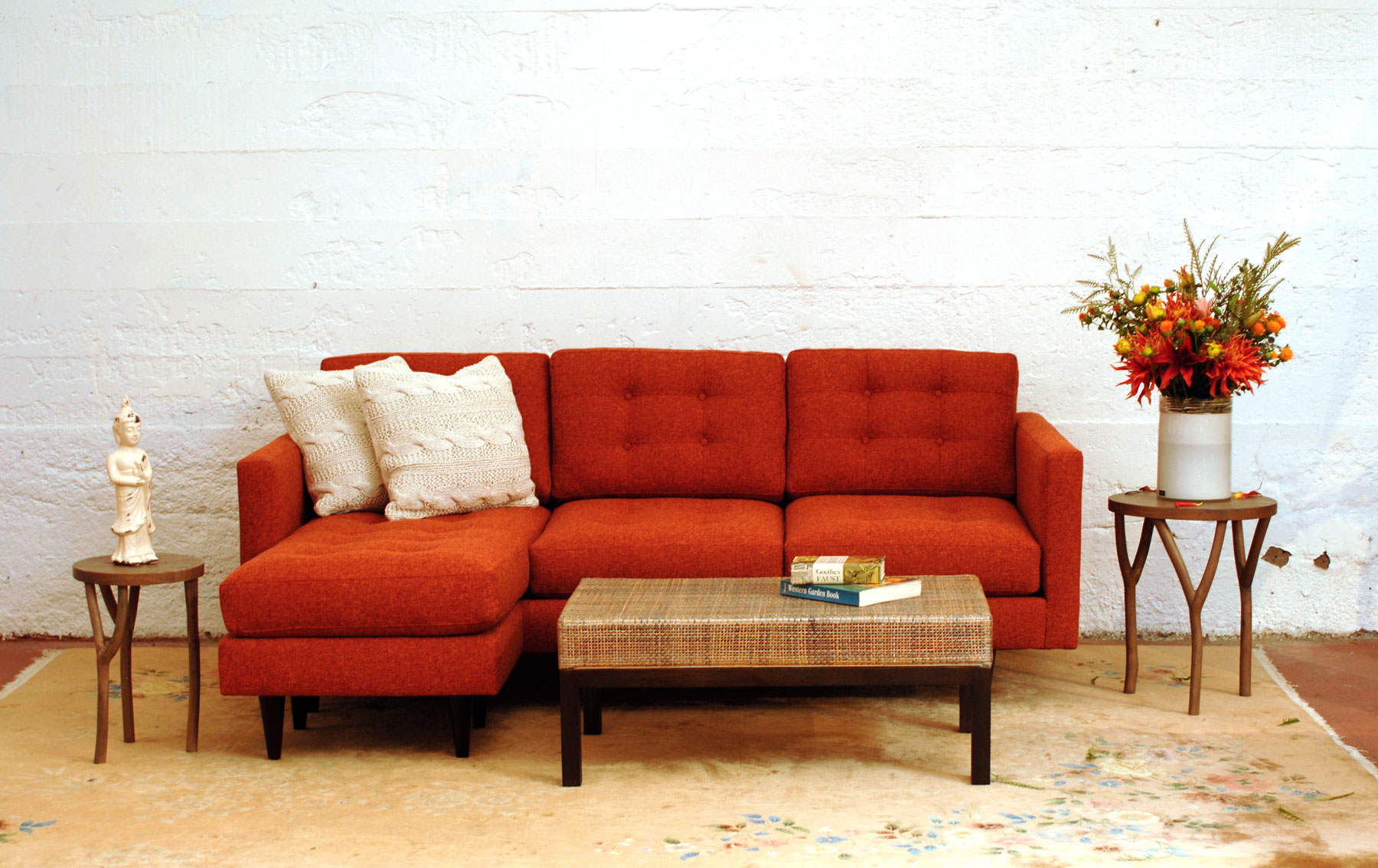 Harrington Galleries couch inspired by santa fe red rocks