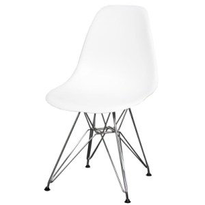 white rounded chair with metal legs