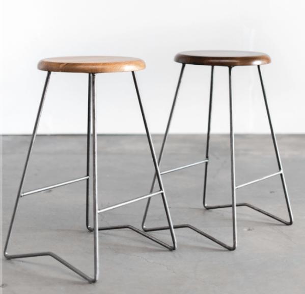 Pair of steel and wood mid century stools