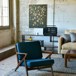 Blue accent chair in living room with decor