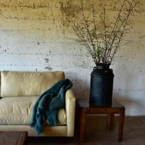 Custom sofa in living room with decor