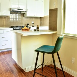 Teal bar stool in kitchen