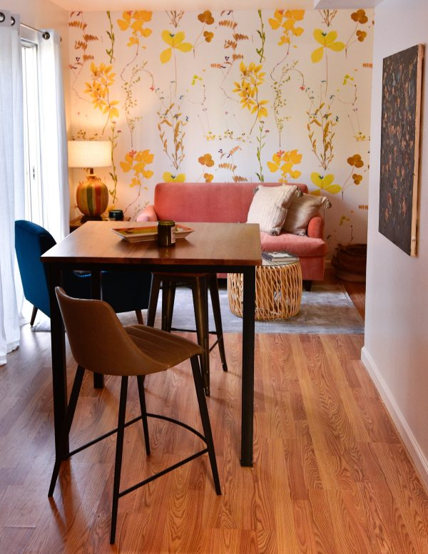 Tall table and stools in living room