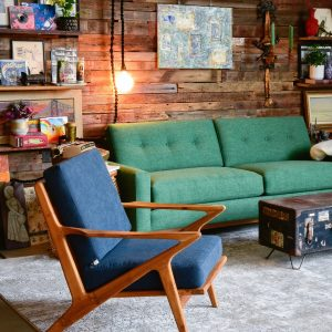 Blue mid century modern chair in living room