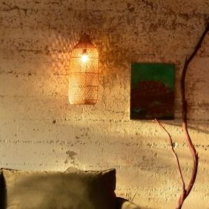 Rattan light fixture in living room
