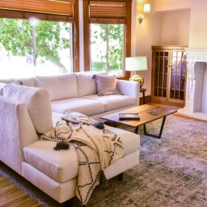 Custom condo sofa sectional with chaise in living room