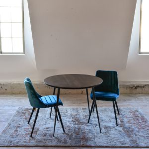 Blue velvet mid century dining chairs and table