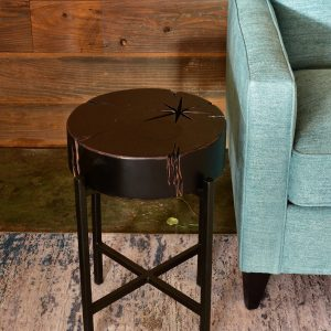 Wooden side table in living room