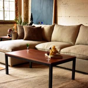 walnut wood coffee table with metal base