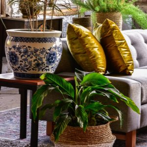 side table in living room with decor and plants