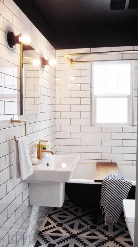 Black ceiling and bathtub