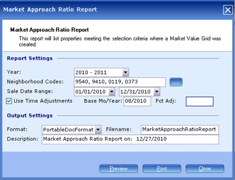 comparable sales, report, market approach ratio, 9032x