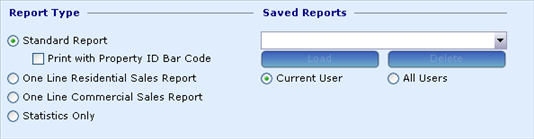 Comparable Sales, Sales Ratio Report Wizard 1, Report Type section, 9032x