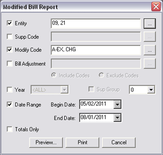 Collections Reports, Modified Bill Report, 8109x