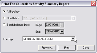 Fee Processing Report, Fee Coll Activity Summary, 01