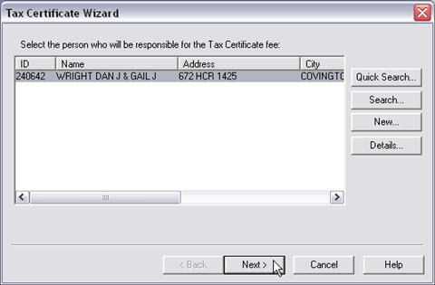 General Collections, Tax Certificate Wizard, Account, 001