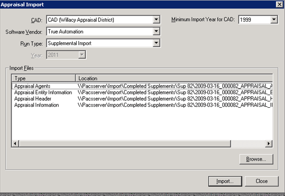 Supp Appraisal Import, Importing Supp Appraisal Data, Import File Location, 01