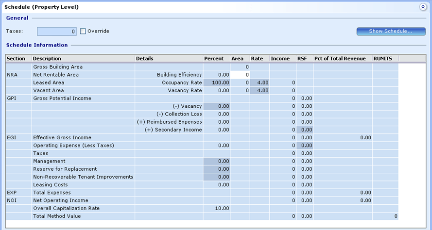 Income, Income Details, Schedule Prop Level, General