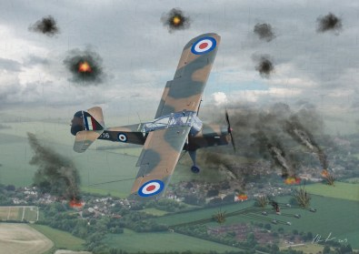 V2 of an Auster spotter aircraft flying over fields. This artwork features the Auster AOP6, TW536