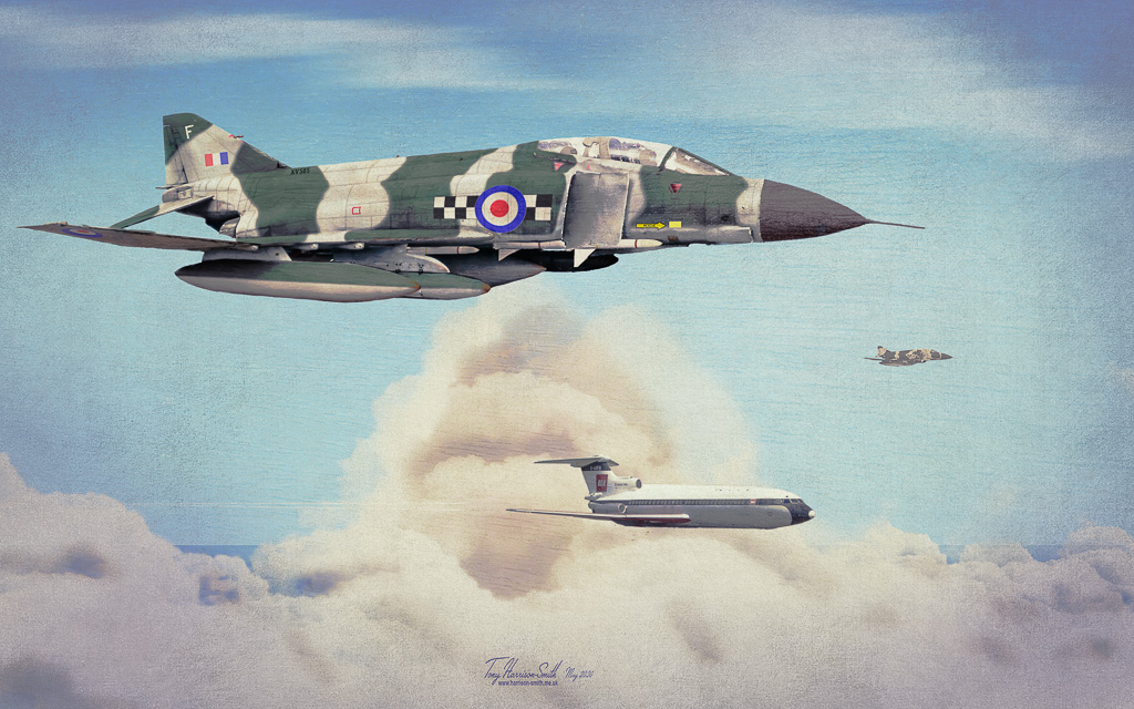 Aviation art showing Phantom escorting a BEA Trident Two Jet Airliner