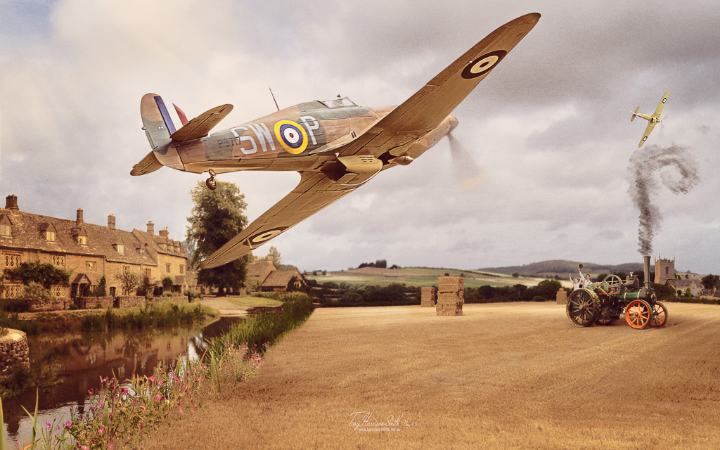 A pair of Hawker Hurricans do a low pass over a stubble field with farm hands waving to them.