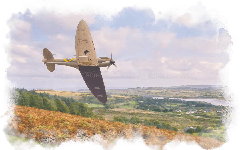 Low flying spitfire - art