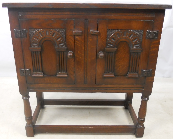 Dark Carved Oak Jacobean Style Hall Cupboard