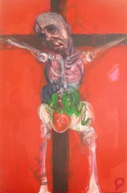 'Étude pour la crucifixion no.2' by M. Harrison-Priestman - acrylic on aluminum, 48 x 32 cm, 2107.