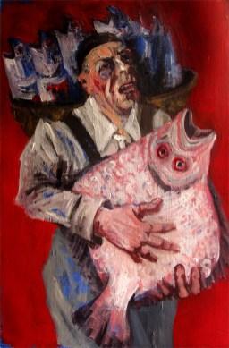 'Le pêcheur' by M. Harrison-Priestman - acrylic on gesso, 48 x 32 cm, 2107.