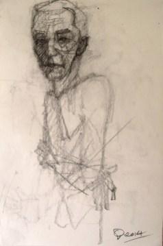 'Homme aux bras croisés' by M. Harrison-Priestman - pencil on paper, 40 x 30 cm, 2104.