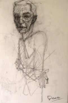 'Homme aux bras croisés' by M. Harrison-Priestman - pencil on paper, 40 x 30 cm, 2104.