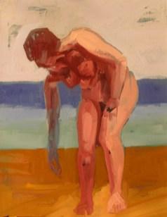 'Figure au bord de la Mer' by M. Harrison-Priestman - oil on canvas, 50 x 40 cm, 2016.