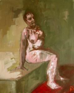 'Gabriella sur un Lit' by M. Harrison-Priestman - acrylic on linen, 50 x 40 cm, 2107.
