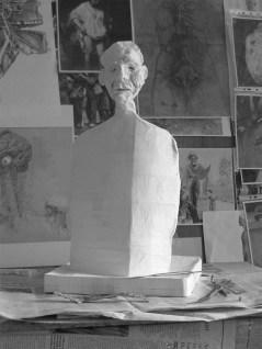 'Homme désespéré' by M. Harrison-Priestman - papier mâché sculpture, 48 x 26 x 16 cm, work in progress, 2018.