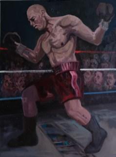 'Le Boxeur no:7' by M. Harrison-Priestman - oil on linen, 45 x 35 cm, 2019.