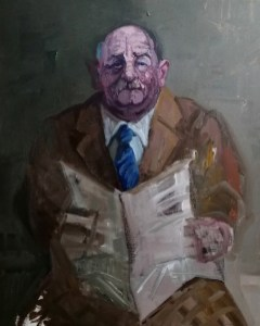'Père, journal lecture no:2' by M. Harrison-Priestman - acrylic on canvas, 50 x 40 cm, 2019.