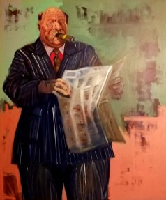 'Homme en costume à rayures. no:1' série de journaux no:7', oil on linen, 100 x 80 cm, 2019