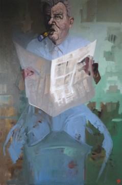 'Le magnat no:3' série de journaux no:5', oil on linen, 100 x 80 cm, 2019.