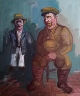 'Le gros garçon et le nain no:1' - the Fat Boy of Peckham and dwarf series - by M. Harrison-Priestman - oil on linen, 60 x t0 cm, 2016-2020.