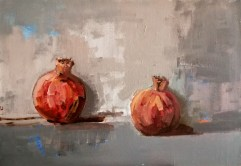 'Nature morte à la grenade' Still-Life study of two Pomegranates - by painter M. Harrison-Priestman - acrylic on canvas, 35 x 50 cm, 2020.
