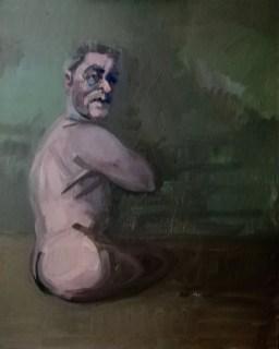 'La veste droite' by M. Harrison-Priestman - acrylic on linen, 60 x 50 cm, 2020.