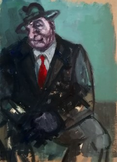 'Homme au chapeau' acrylic on stretched paper with a pumice and ultramarine ground, 33 x 21 cm, 2020.