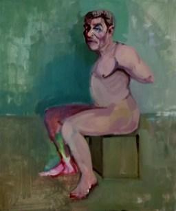 'Homme oiseau' by M. Harrison-Priestman - acrylic on linen, 60 x 50 cm, 2020.