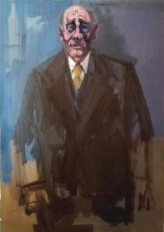 'Le banquier' by M. Harrison-Priestman - acrylic on canvas, 50 x 35 cm, 2020.