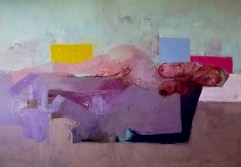 'Femme comme paysage no:2' work in progress by M. Harrison-Priestman - oil on linen, 80 x 100 cm, 2020.