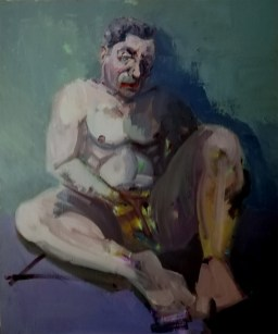 'L'homme mélancolique' by M. Harrison-Priestman - 60 x 59 cm, acrylic on linen, 2020.