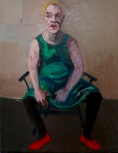 'Femme en robe verte' by M. Harrison-Priestman - oil on linen, 45 x 35 cm, 2020.