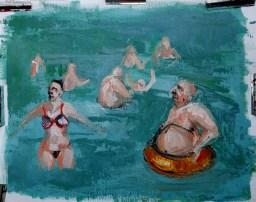 'Le bord de mer no:1 - Akyaka-Turkey series part 1' by M. Harrison-Priestman - acrylic on canvas, 28 x 36 cm, 2020.