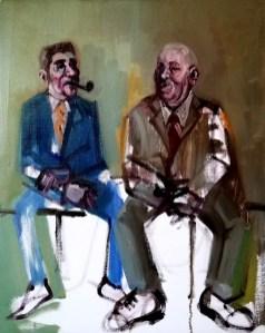 'Deux hommes qui fument' work in progress by M. Harrison-Priestman - oil on linen, 50 x 40 cm, 2020.